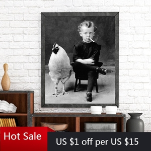 Weird Vintage Photography Poster Prints Boy Smoking With His Chicken Pet Portrait Canvas Painting Wall Art Decor Room Decor