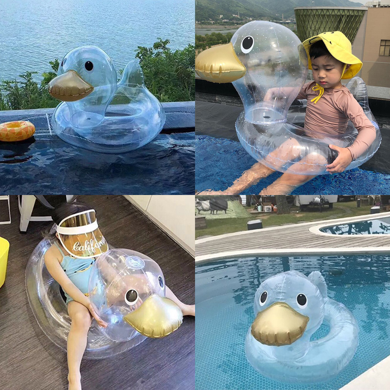 Baby Transparent Duck Swimming Ring Inflatable Infant Floating Kids Float Swim Pool Accessories Circle Bath Inflatable Ring Toy