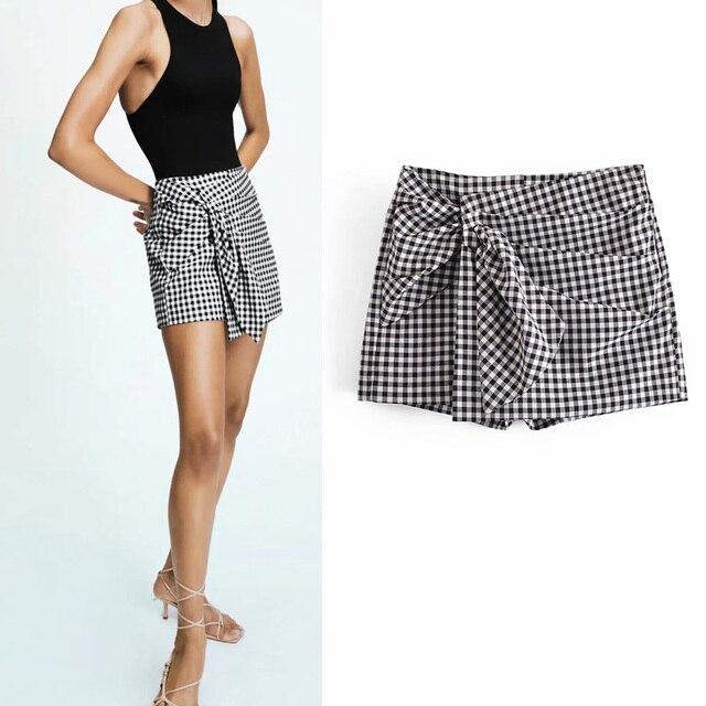 Women 2021 Summer Plaid Shorts Pleated Sashes Bow Tie ZA Fashion Female Street Sweet Shorts Bottons Clothing 1