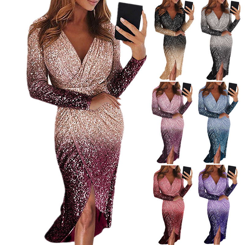 BacklakeGirls Ever Pretty Gradient Long Cocktail Dress Long Sleeve Gradual Change Color Sequin Evening Gowns Vestido Largo Noche