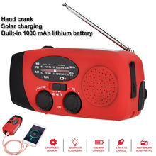 미니 태양 라디오 다기능 핸드 크랭크 Dynamos 전원 라디오 수신기 AM/FM/WB/NOAA 날씨 라디오 LED 손전등