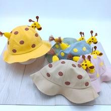 Children Sun Hat Lovely Giraffe Doll Decorate Hat for Boys Girls Spring Autumn Dot Solid