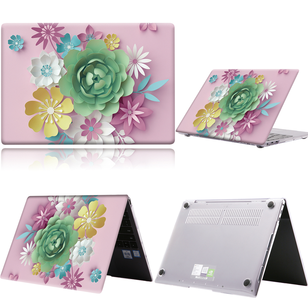 Laptop Case For Huawei MateBook 13/13 AMD Ryzen/14/D14/D15/X 2020/X Pro/Pro 16.1/Honor MagicBook 14/15 3D Art-green Flower Shell
