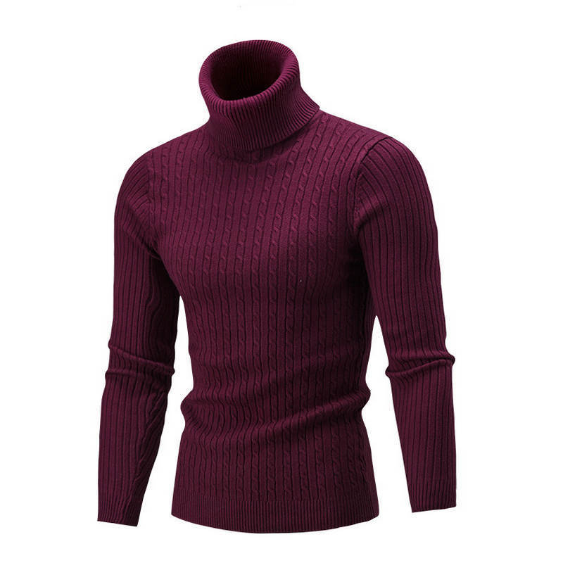 Men's High-collar Solid Shirt Tights Knitted Knitted Men's Sweaters In New Autumn And Winter Of 2019