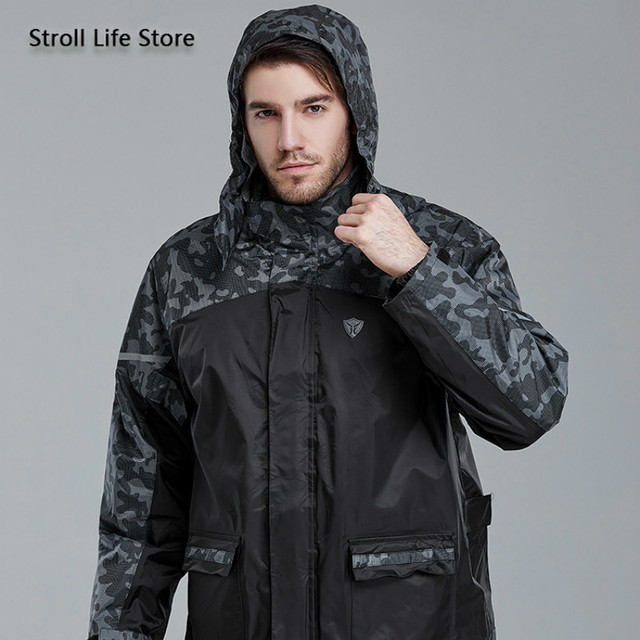 Adults Motorcycle Raincoat Rain Pants Suit Men Rain Jacket Poncho Thickened Reflective Rain Coat Clothes Waterproof Suit Gift 1