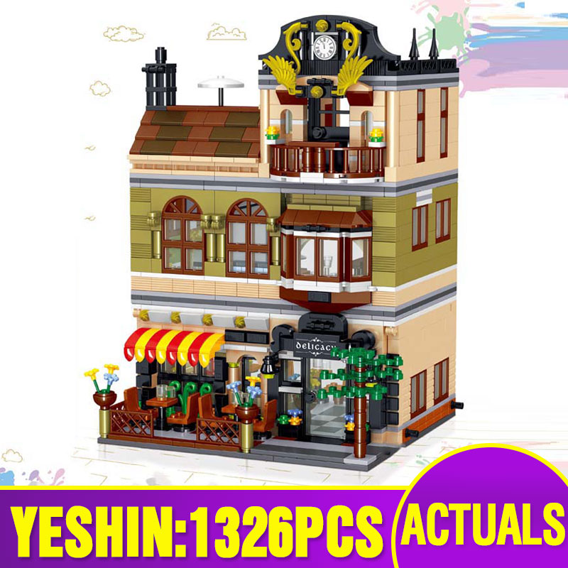 Yeshin Street Building Toys Compatible With Lepining 10243 MOC Chinese Restaurant Building Blocks Bricks New Kids Christmas Gift