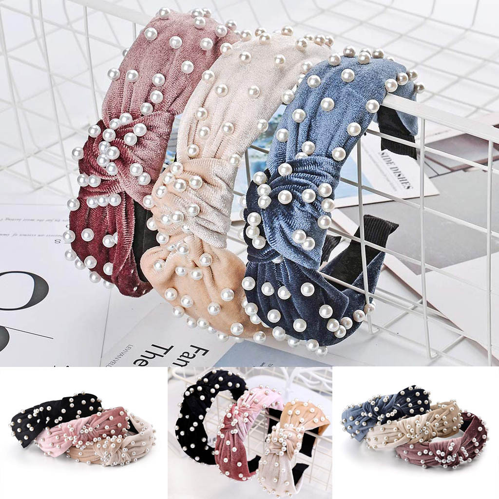 Hair Accessories Korea High Quality Women Pearl Beaded Lovely Hairband Bow Knot Head Hoop fashion Sweet Wide Headband #YL5