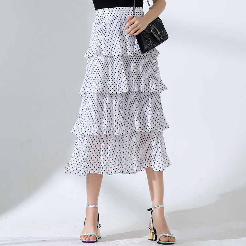 Polka Dot Dress Summer Mid-length Chiffon Xianxian Skirt A- Line Pleated Four Layer Large Pleats Cake Dress Elegant Printed Wais