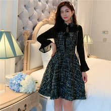 2019 new Japanese style early autumn woolen womens slim temperament long-sleeved dress
