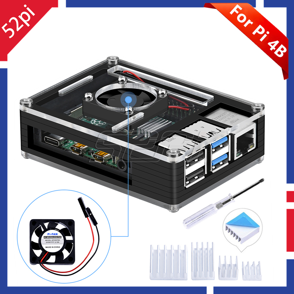 52Pi Acrylic Plastic Black Case With Cooling Fan For Rasberry Pi 4 B (4 Model B) (Not Include)