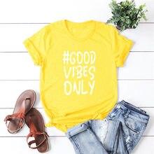 Camiseta de manga curta das senhoras do algodão do verão das letras da forma do hipster das boas vibrações
