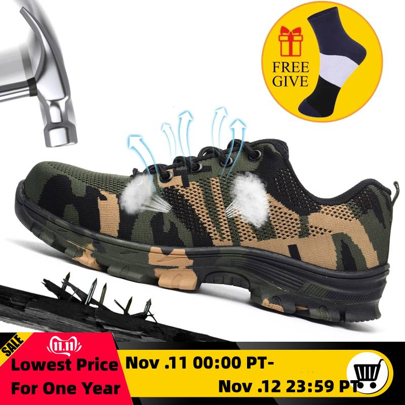 XZMDH Dropshipping Men And Women Steel Toe Safety Boots Outdoor Breathable Safety Shoes For Men Puncture-Proof Workers Sneakers
