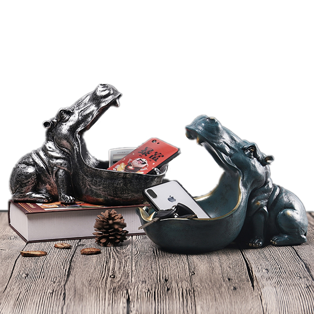 22cm Resin Hippo Figurines Keychain Desktop Decoration Home Accessories Porch Remote Control Storage Animal Ornament Gift