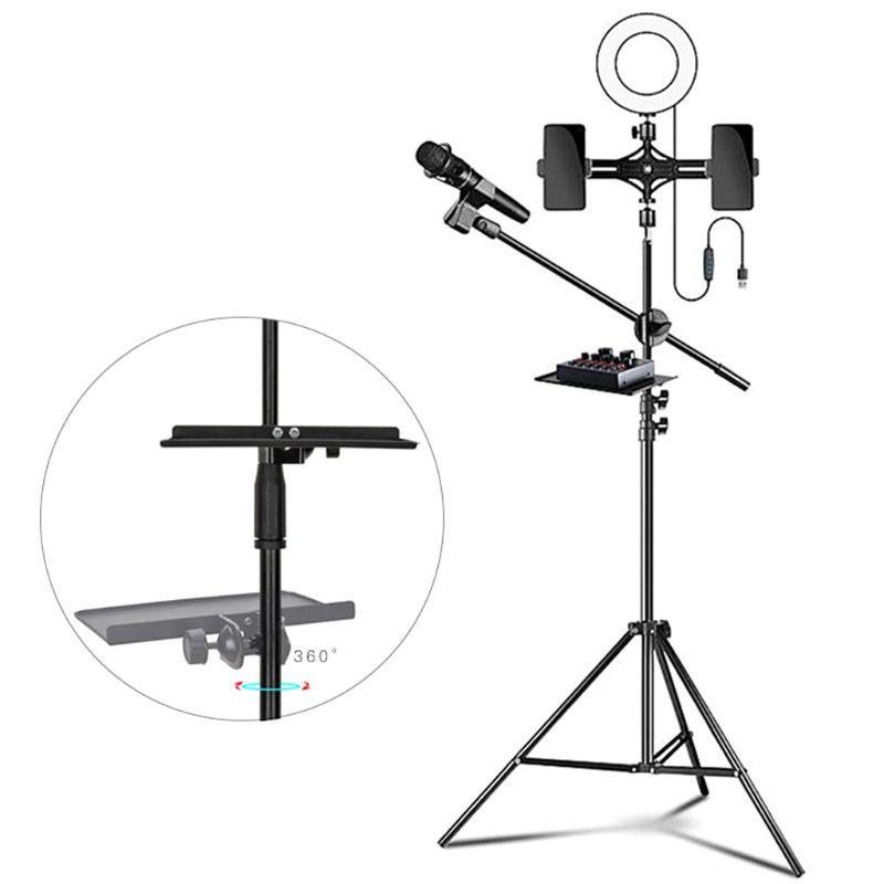 200x130MM Sound Card Tray Live Broadcast Microphone Rack Stand Phone Clip Holder AXYF