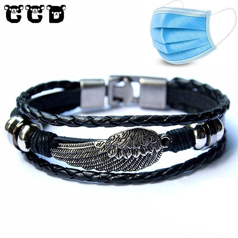 Hot sale 2018 Fashion Leather Wing Anchor Bracelet for Men Male Charm Bracelets & Bangles Women Friend Gift Party PUNK Jewelry