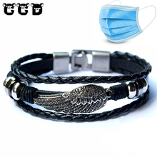 Hot sale 2018 Fashion Leather Wing Anchor Bracelet for Men Male Charm Bracelets & Bangles Women Friend Gift Party PUNK Jewelry