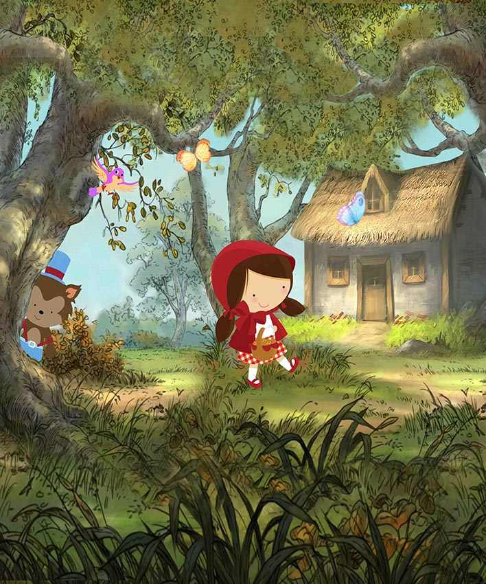 5x7FT  Little Red Riding Hood Fairy Tale Forest Butterfly Bird Trees Custom Photo Studio Background Backdrop Vinyl 150cm X 220cm