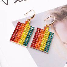 fashion exaggerated alloy earrings with diamonds  online celebrity  trendy geometric rainbow earrings for women graceful exaggerated alloy multilayered body chain for women