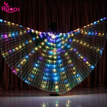 Ruoru wielokolorowy taniec brzucha Isis Wings Led Isis Wings kostium sceniczny motyl dorosłe skrzydła z patyczkami dla dorosłych dzieci tanie i dobre opinie WOMEN RC-401 Poliester