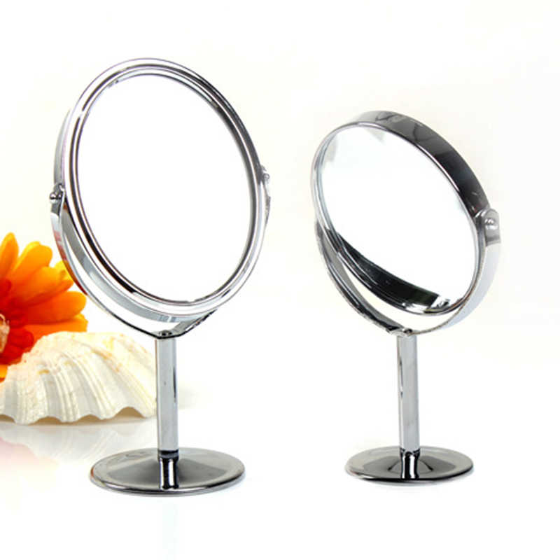 Hot Double-Sided Clear Makeup Mirror Normal Desk Stand Magnifying Round Shape Metal HD Cosmetic Mirror for Gift Beauty Cosmetics
