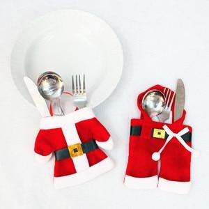 Image 4 - 2 adet noel sofra çatal bıçak tutucu çatal çantası noel baba Elk kardan adam şapka yılbaşı süsleri ev yemeği masa süsü