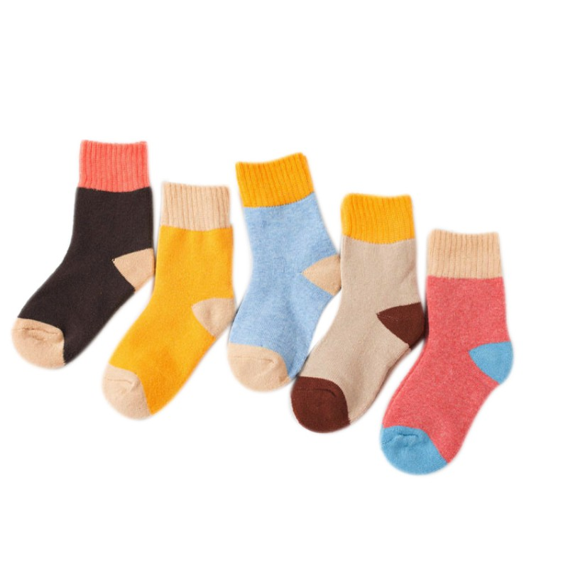 5 Pairs/Pack Kids Baby Socks Boys Girls Patchwork Color Socks Set Cotton Warm Floor Socks Leg Warmer
