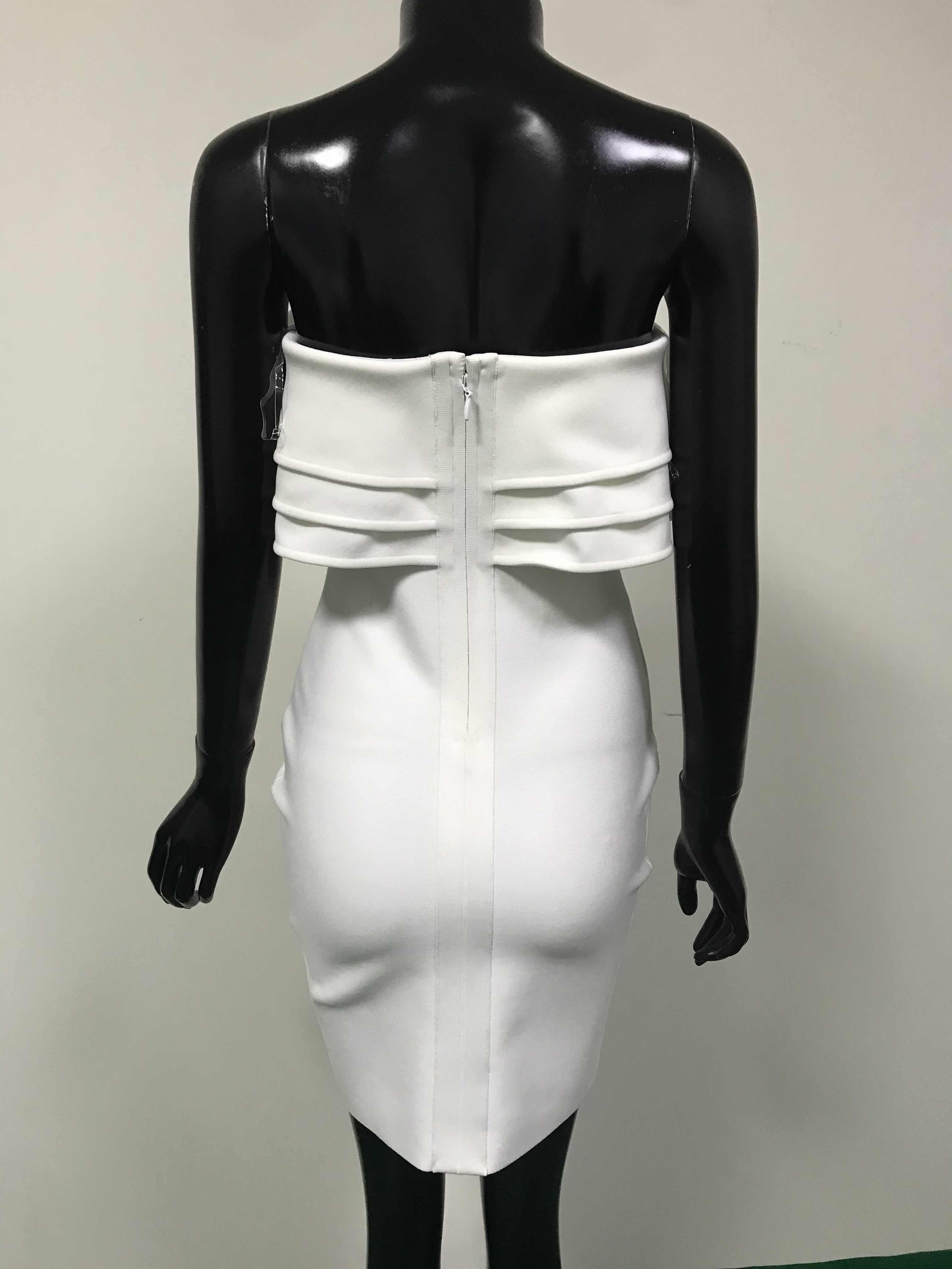 2020 женское модное сексуальное платье без бретелек с оборками, белое Бандажное платье, дизайнерское вечернее мини-платье знаменитостей, вечерние платья Vestido