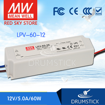 Ankang MEAN WELL LPV-60-12 12V 5A meanwell LPV-60 60W Single Output LED Switching Power Supply only 11 11 mean well mdr 60 12 12v 5a meanwell mdr 60 60w single output industrial din rail power supply [hot1]