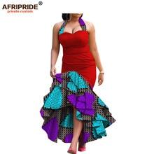 Купить с кэшбэком 2019 new spring dress for women african print AFRIPRIDE sleeveless ankle-length 3 layers halter women dress A7225131