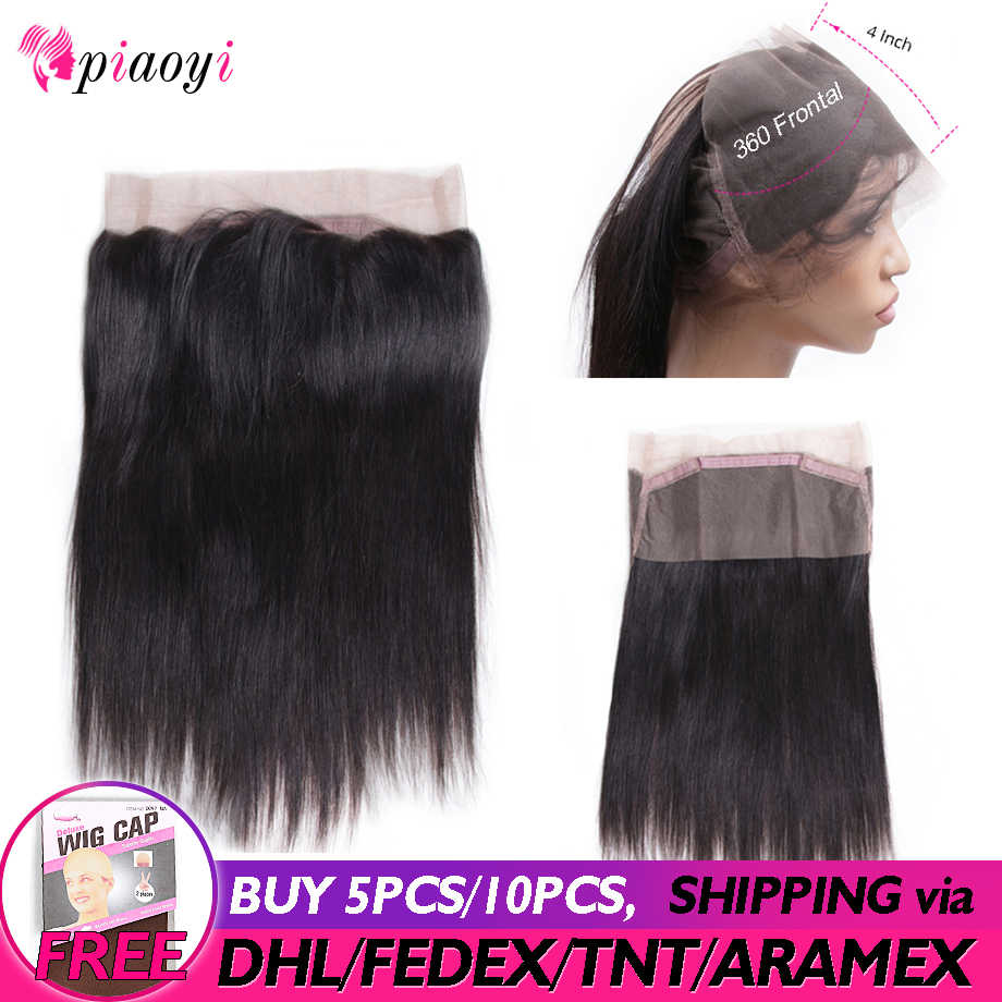 Piaoyi Peruvian Straight Hair Pre Plucked 360 Lace Frontal Closure With Baby Hair 8-22 Inch 100% Remy Human Hair Free Shipping