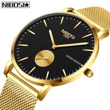 лучшая цена NIBOSI Fashion Mens Watches Top Brand Luxury Quartz Watch Men Casual Thin Mesh Steel Waterproof Sport Watch Relogio Masculino