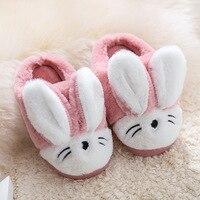 Crianças chinelos de inverno quente bonito dos desenhos animados coelhos chinelos meninas meninos de pelúcia flip flops crianças do bebê em casa sapatos de pele slides|Chinelos| |  -