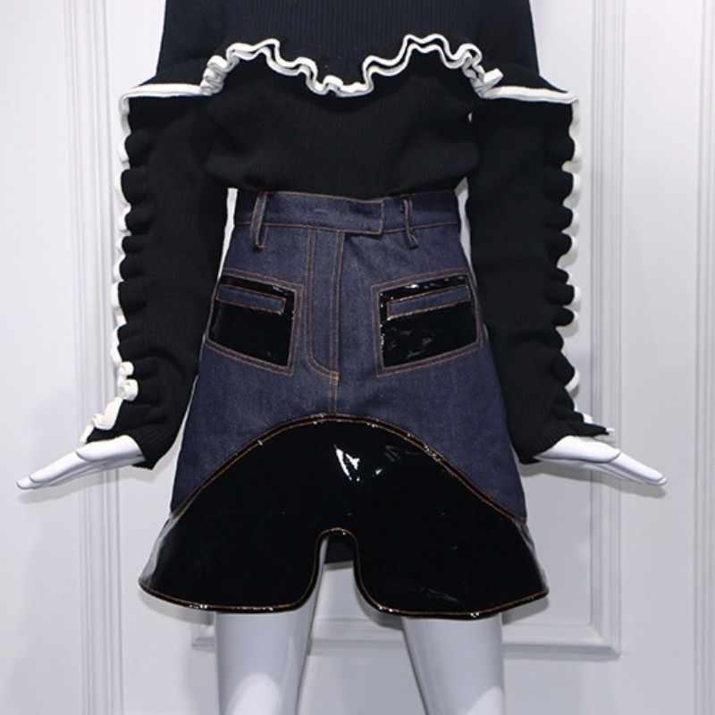 Nieuwe Designer Tow Stuk Sets Vrouwen Gebreide Coltrui Ruches Truien Tops En Denim Jean Rokken Splice Pu Leer Streetwear