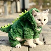 Одежда для домашних животных, костюмы с забавным динозавром, пальто, Зимняя Теплая Флисовая одежда для кошек, кофта с капюшоном с котенком, одежда для щенка, ropa perro