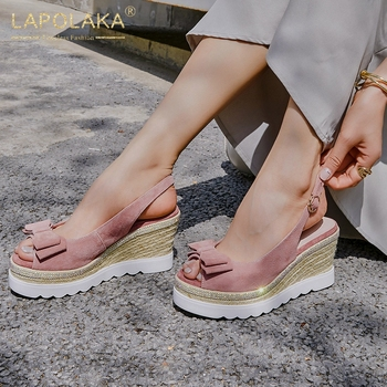 Lapolaka 2020 New Fashion Genuine Leather Women Sandals Wedges Med Platform Butterfly-knot Retro Pumps Summer Casual Woman Shoes