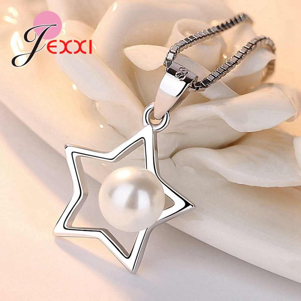 Pretty 925 Sterling Silver Jewelry Sets for Women Female Gifts Pentagram with White Pearl Original Design Ornaments