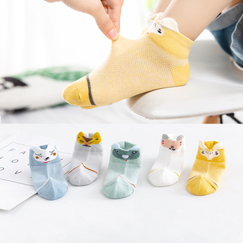 5Pairs/lot 0-2Y Baby Socks Summer Cotton 3D Cartoon Animal Kids Socks Girls Mesh Cute Newborn Boy Toddler Socks Baby
