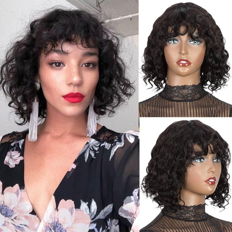 Rebecca Short Curly Wig Human Hair Full Wigs For Black Women Peruvian Remy Bouncy Curly Water Wave Cute Bob Human Hair Bangs Wig