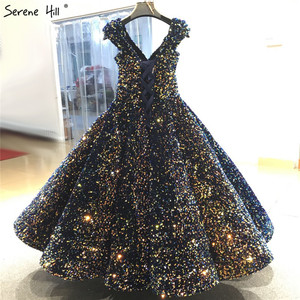 Image 2 - Indigo Blue Gold V Neck Luxury Evening Dresses 2020 Sleeveless Sequined Sexy Ankle Length Formal Gowns Serene Hill HA2154