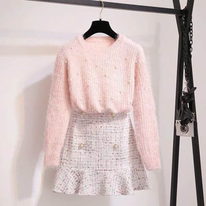 Autumn Winter Women Pink Sweet Long Sleeve Beading Pullover Knitting Sweater Top + Tweed Mermaid Midi Skirt 2 Piece Sets