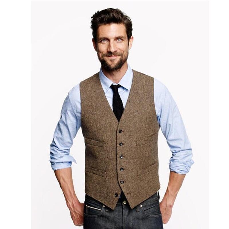 Vintage Brown Tweed Vests Wool Herringbone British Style Custom Made Mens Suit Tailor Slim Fit Blazer Wedding Suits For Men