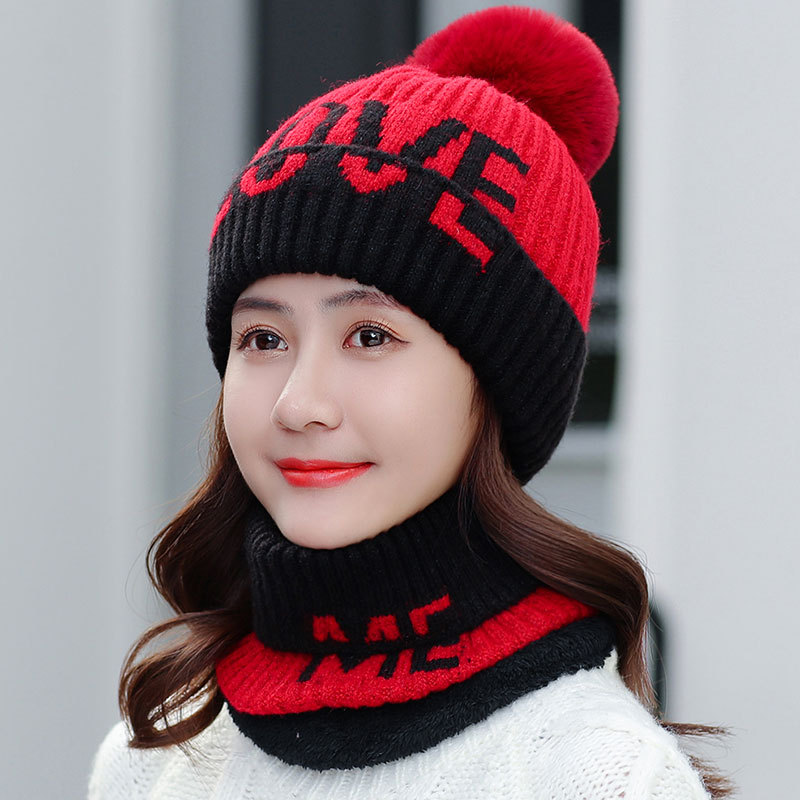 Classic Thicken Winter Hat And Ring Scarf Set For Women Unisex Kitted Winter Warm Hats Scarves Pom Poms Bonnet Beanie Caps