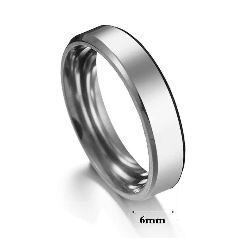6mm złoty Titanium stalowe pierścienie dla kobiet kobieta Punk pierścień mężczyźni obrączka mężczyźni obrączki dla kobiet akcesoria kobieta