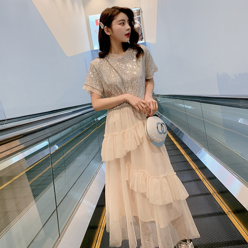2019 New Style Korean-style Summer Set Sequin Short Sleeve T-shirt Gauze Layer Cake Skirt Two-Piece Women's F5934