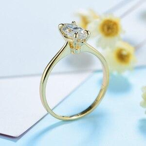 Image 5 - Kuololit 100% טבעי המרקיזה Moissanite 10K צהוב זהב טבעות לנשים סוליטייר טבעת עבור מבטיחים יום נישואים מתנה בשבילה