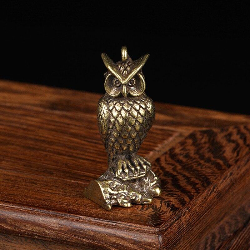 Antique Solid Brass Standing Owl Miniature Figurines Retro Copper Animal Tea Pet Desktop Ornament Decor Crafts Keychain Pendants