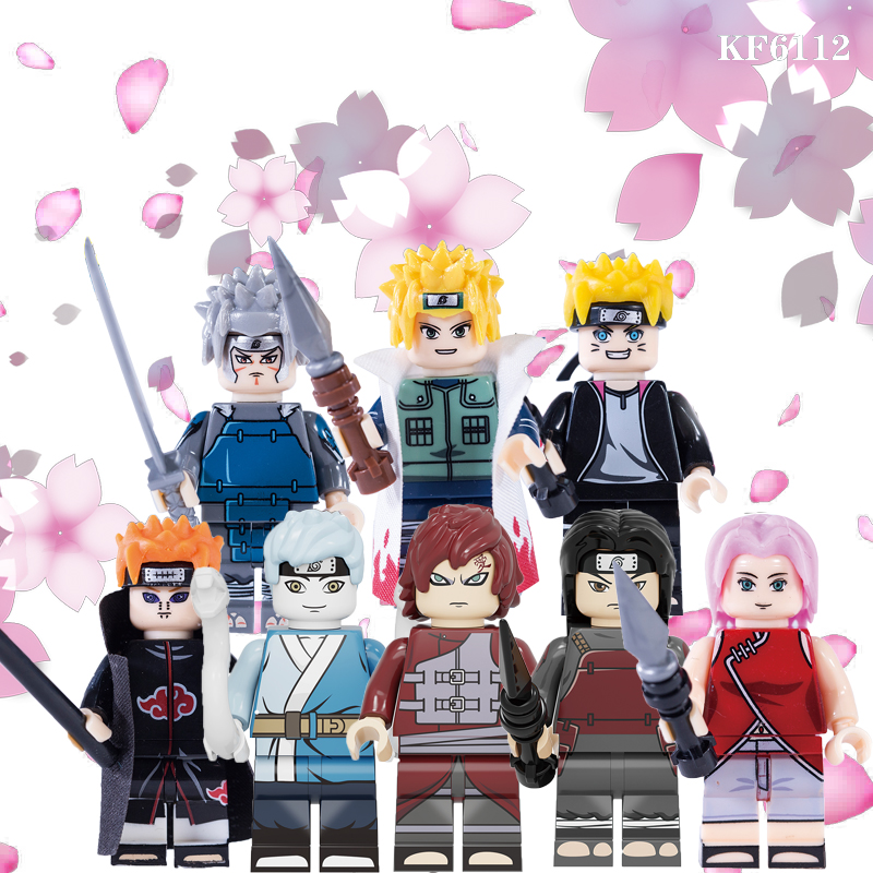 20Pcs Building Blocks Naruto Figures Mitsuki Gaara Uzumaki Boruto Namikaze Minato Hashirama Tobirama Toys For Children KF6112
