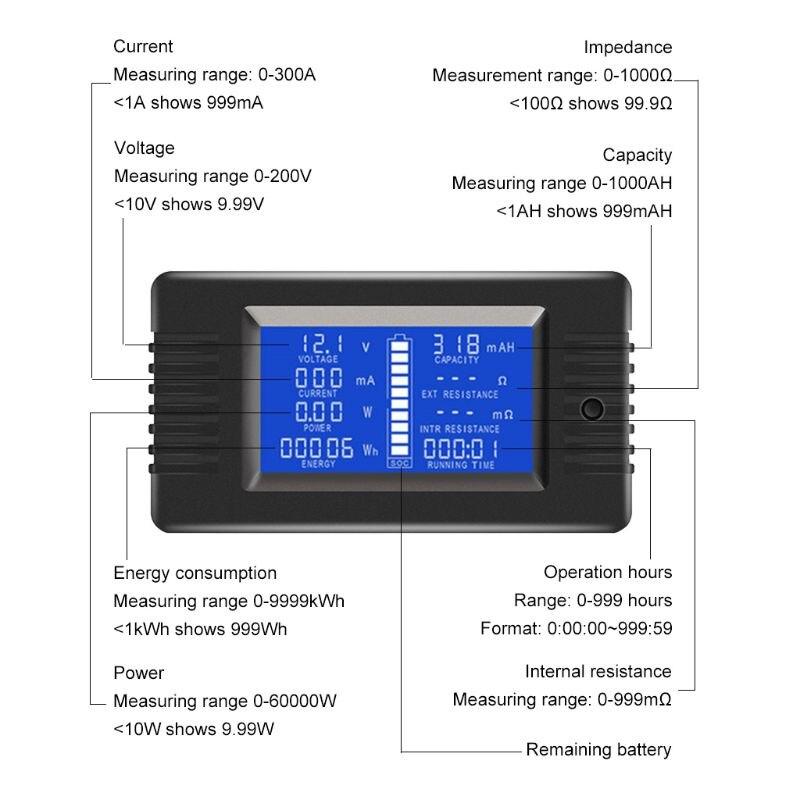 Capacidade de Impedância Medidor de Tempo de Energia 100a 200a 300a Bateria Tester Monitor Tensão Atual Watt Ampere Potência dc 0-200 v 50a –