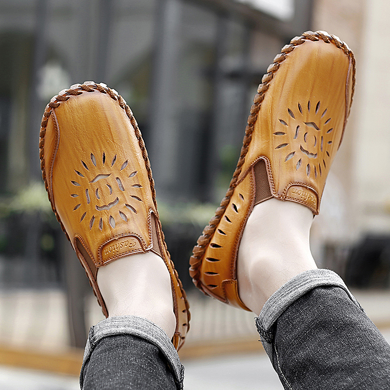 men genuine leather casual loafers Summer flats slip-on breathable handmade sewing moccasins autumn punching fashion drive shoes 6