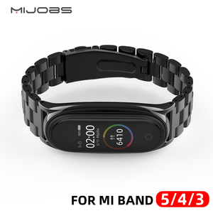 Mi Band 5 Strap Metal Stainless Steel For Xiaomi Mi Band 4 Strap Compatible Bracelet Miband 3 Wristband Pulseira Mi band5 Correa(China)